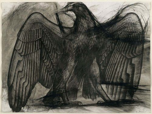 RAINER, ARNULF (Baden bei Wien 1929 - lives in  Upper Austria) Eagle drawing. 1986 / 1987. Oil crayon and graphite on paper. Signed lower right: A. Rainer. 26 x 36 cm. Provenance: - Galerie Lelong, Zürich. - Private collection Switzerland.