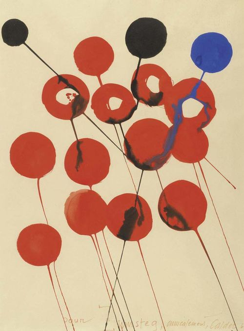 CALDER, ALEXANDER (Philadelphia 1898 - 1976 New York) Ballons. 1968. Gouache on paper. Signed and dated lower right: Calder 68. Also dedication: pour Zumsteg. 76 x 56 cm. Provenance: Abraham Holding, Gustav Zumsteg.