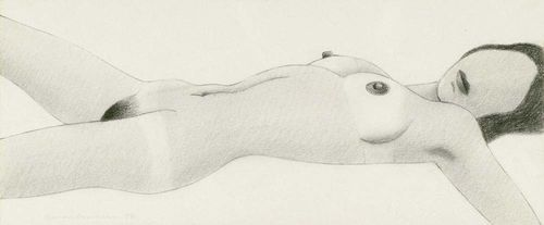 WESSELMANN, TOM (Cincinnati 1931 - 2004 New York) Untitled Nude. 1972. Pencil on paper. Signed and dated lower left: Wesselmann 72. 23 x 10 cm.