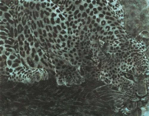 DOKOUPIL, GEORG JIRI (born 1954 in Krnov) Trinkender, türkisener Leopard. 2002. (turquoise leopard drinking) Acrylic and soot on canvas. Signed and dated verso on canvas fold: Dokoupil 2002. 70 x 90 cm. Provenance: - Galerie Bischofberger, Zurich. Inv.-No. 13791. - Abraham Holding, Gustav Zumsteg.