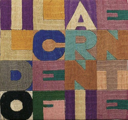 BOETTI, ALIGHIERO (Turin 1940 - 1994 Rom) Il Dolce Farniente. 1979. Embroidery - text picture. Reference: 210. 24 x 24 cm. Provenance: - Galerie Eric Franck, Geneva. - Abraham Holding, Gustav Zumsteg.