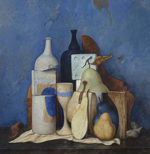 BAK, SAMUEL (Wilna 1933 - lives in  Western, Massachusetts) Still life with bottle and pears. Oil on canvas. Signed lower right: Bak. 49 x 49 cm. Provenance: - Kallenbach art dealership, Munich. - Private collection Switzerland.