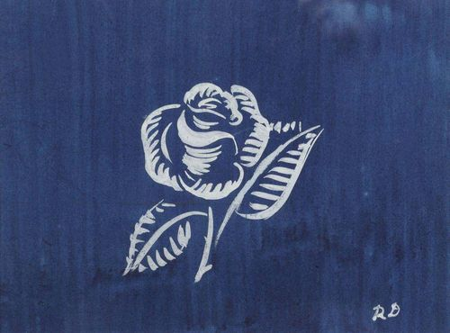 DUFY, RAOUL (Le Havre 1877 - 1953 Forcalquier) White rose on blue background. Gouache on paper. Fabric design. Monogrammed lower right: R D. 19 x 25 cm (image).
