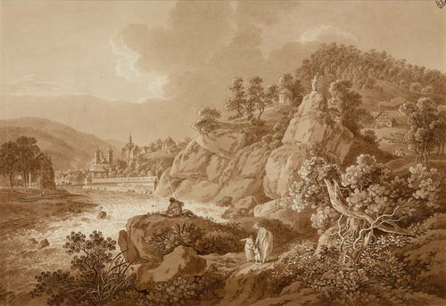 ZINGG, ADRIAN (St. Gallen 1734 - 1816 Leipzig).View of Karlsbad, with a young mother and her children in the foreground. Etching, brown wash, partial aquatint in brown. 29.6 x 43.7 cm. Artist's stamp on upper right corner: AZ. Partly attached to the backing board. Old inscription on board: A.Zingg fec.. – A splendid, delineated impression. Minor compression on left edge of sheet, partial minor soiling within the image in the upper left section. Overall fine condition. Very rare.