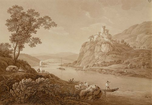 ZINGG, ADRIAN (St. Gallen 1734 - 1816 Leipzig).The Elbe at Aussig, with a ferryman and his boat in the foreground, Burg Schreckenstein in the background. Etching with brown wash and partial aquatint in brown. 30 x 43.4 cm. Signed lower right within the image in black pen: Zingg dl. Artist's stamp on upper right margin: AZ. Partly attached to the backing board. Inscribed lower right on board: A. Zingg fec.. – A splendid delineated impression. Minor rippling on upper left margin, otherwise in fine condition with fresh colours. Very rare.