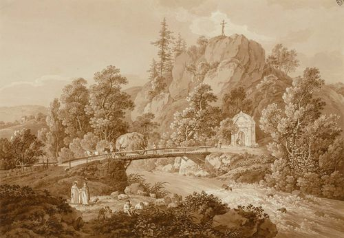 ZINGG, ADRIAN (St. Gallen 1734 - 1816 Leipzig).Romantic landscape near Karlsbad with passsers-by on a bridge over the Eger. Etching with brown wash and partial aquatint in brown. 30.5 x 43.5 cm. Artist's stamp upper right: AZ. Partly attached to the backing board. Inscribed lower right on board: A.Zingg fec.. – A splendid delineated impression. Almost untouched condition with fresh colours. Very rare.