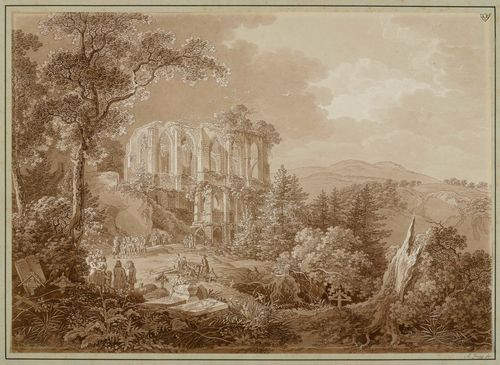 ZINGG, ADRIAN (St. Gallen 1734 - 1816 Leipzig).Ruined monastery and cemetery on Oybin. Etching with brown wash and partial aquatint in brown. 32 x 44.5 cm. Inscribed lower left in the image on a tomb stone: C.A. Rich. 1812. Artist's stamp AZ on the upper right corner. Partly attached on backing board. Inscribed lower right on board in brown pen: A.Zingg fec.. – A splendid delineated impression. Slight sunning on the outer edges of the sheet. Otherwise very good condition with fresh colours. Very rare.