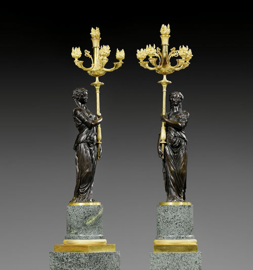 "PAIR OF IMPORTANT CANDELABRA ""AUX VESTALES"" WITH PEDESTALS,"