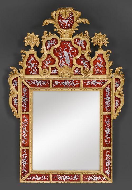 Spiegel mit verre eglomise louis xiv stil in der art von for Miroir louis xiv