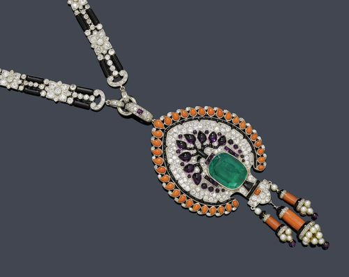 EMERALD, ONYX, CORAL AND DIAMOND NECKLACE, France, ca. 1925.
