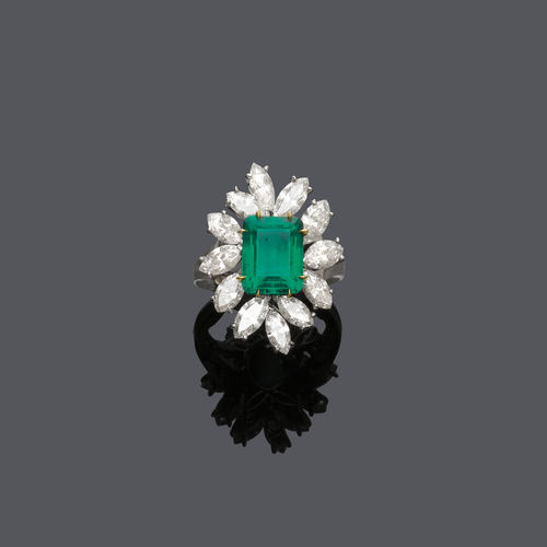 EMERALD AND DIAMOND RING, BY E. MEISTER.