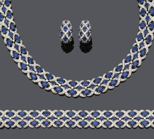SAPPHIRE AND DIAMOND NECKLACE WITH BRACELET AND EARRINGS.