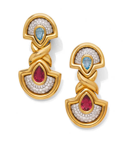 AQUAMARINE, RUBELLITE AND DIAMOND CLIP EARRINGS.