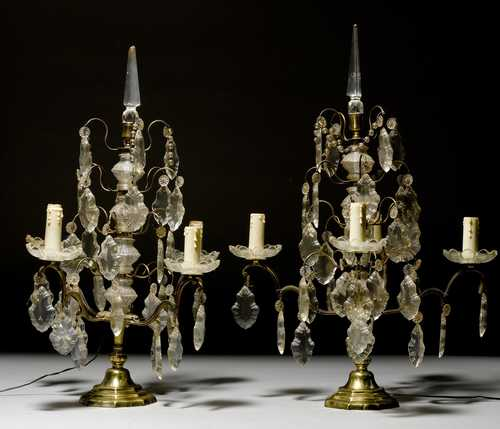 PAIR OF CANDELABRAS WITH GLASS HANGINGS,