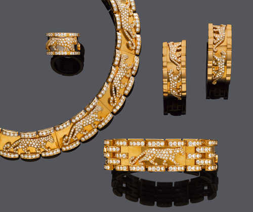 A SUITE OF DIAMOND AND GOLD JEWELLERY, BY CARTIER.