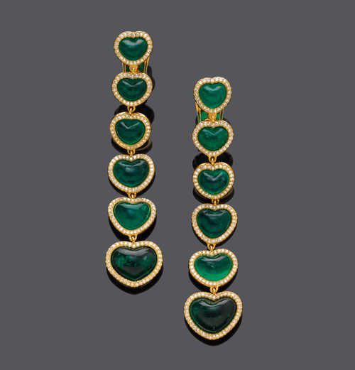 EMERALD AND DIAMOND EAR PENDANTS, BY CHOPARD.