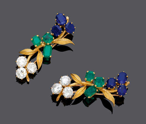EMERALD, SAPPHIRE AND DIAMOND FLOWER CLIP BROOCH, BY MELLERIO Paris, ca. 1980.