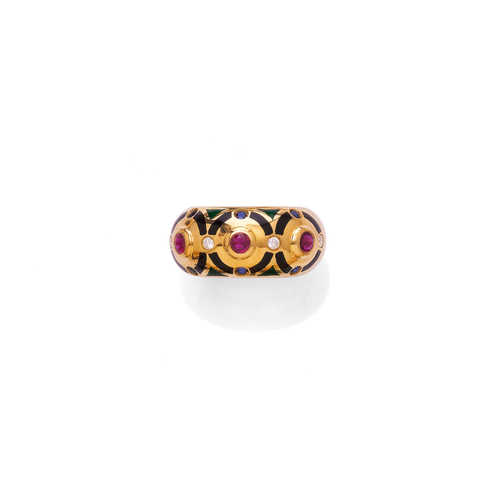 ENAMEL, RUBY, SAPPHIRE, DIAMOND AND GOLD RING, by CARTIER, 1994.