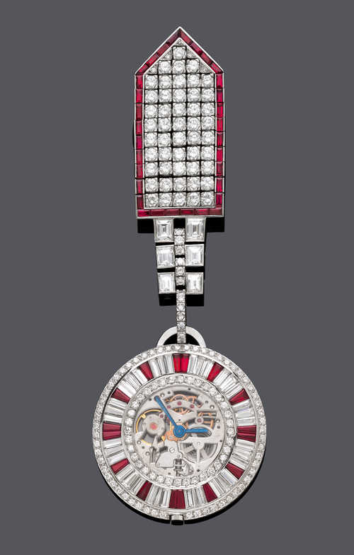 RUBY AND DIAMOND SKELETON DRESS WATCH, BY PIAGET, ca. 1980.