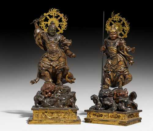 TWO WOODEN FIGURES OF THE SHITENNO (FOUR HEAVENLY KINGS).