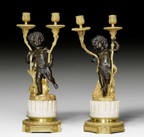 "PAIR OF CANDELABRA ""LE PETIT BACCHANT"",Louis XVI style, Paris, late 19th century. Gilt and burnished bronze with white marble. H 45 cm."