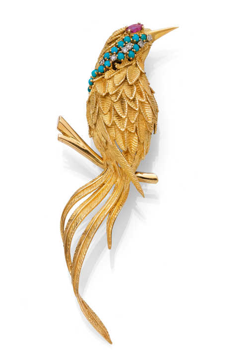 GOLD, TURQUOISE, RUBY AND DIAMOND PENDANT, ca. 1960.