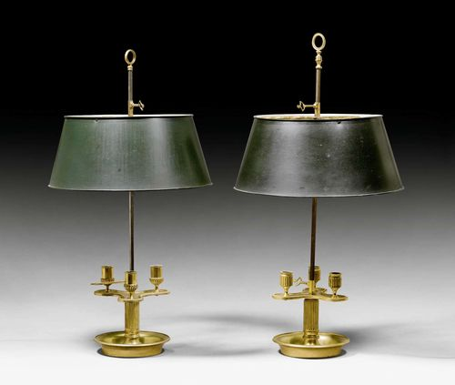 PAIR OF BOUILLOTTE LAMPS,Louis XVI style, Paris, late 19th century. Bronze and brass. Height-adjustable light holder with 3 nozzles and height-adjustable, dark-painted metal shade. Fitted for electricity. H 67.