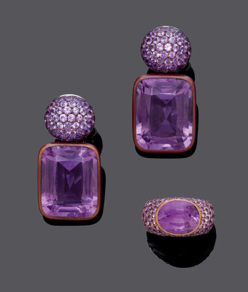 AMETHYST AND SAPPHIRE EAR PENDANTS AND RING, BY HEMMERLE.