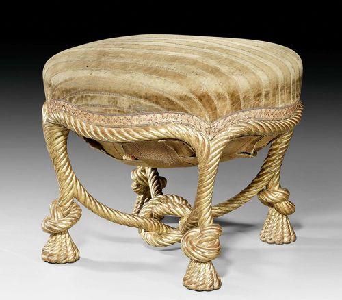 TABOURET, Napoleon III, Paris circa 1860. Carved and gilt beech. On castors. Worn brown/beige striped velour cover. 51x51x45 cm.