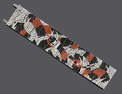 DIAMOND, ONYX, MOTHER OF PEARL AND CORAL BRACELET, ca. 1935.