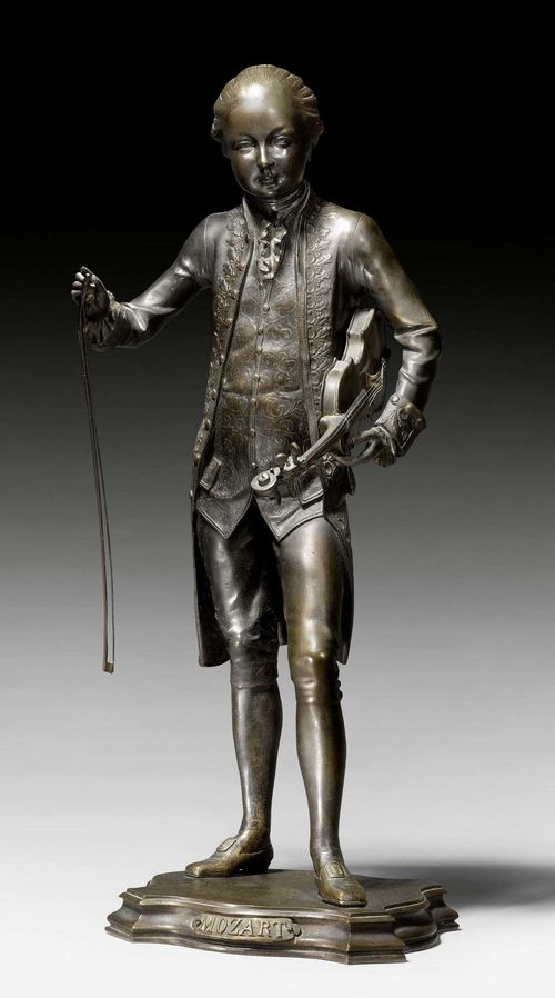 "BRONZE FIGURE OF MOZART,probably after J.L. GREGOIRE (Jean-Louis Gregoire, 1840-1890), France circa 1900. Burnished bronze. Inscribed ""Mozart"". H 60 cm."