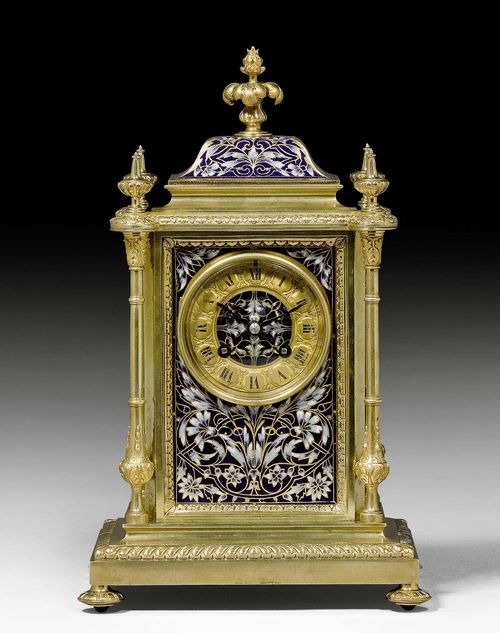 MANTEL CLOCK WITH ENAMEL,Napoleon III, the dial signed MAYOT LYON, France, 19th century. Gilt bronze, brass and fine enamel in blue tones. Anchor escapement striking the 1/2 hours on bell. 22x17x35 cm.