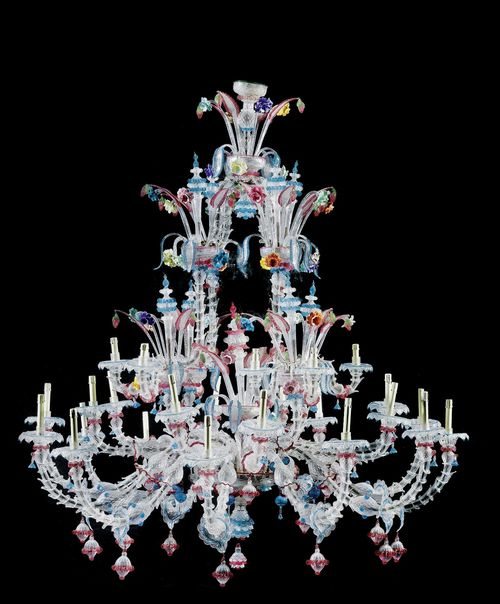 IMPORTANT LARGE CHANDELIER,Murano, early 20th century. Finely cut and colored glass. With 36 light branches on 3 levels. H 210 cm, D 190 cm. A rare, important chandelier in an excellent condition.