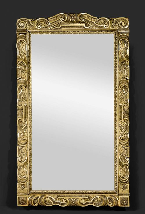 IMPORTANT MIRROR,Baroque style, Italy, 19th century. Exceptionally richly carved and gilt wood. H 277 cm, W 165 cm.
