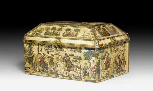 "CASKET WITH ""ARTE POVERA"" PAINTING,"