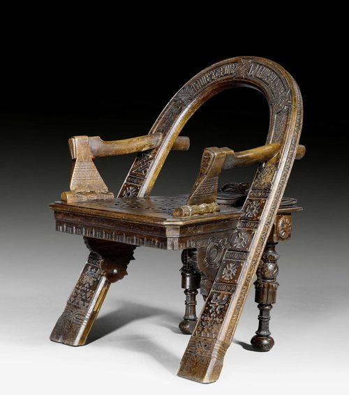 "CHAIR,Russia, St. Petersburg, circa 19th century. Pierced and carved hardwood with the Cyrillic inscription ""haste makes waste"". 63x59x47x90 cm. Provenance: - Former property of Baron von Rauch, personal physician of Tsar Nicholas I. - In current family ownership via inheritance."