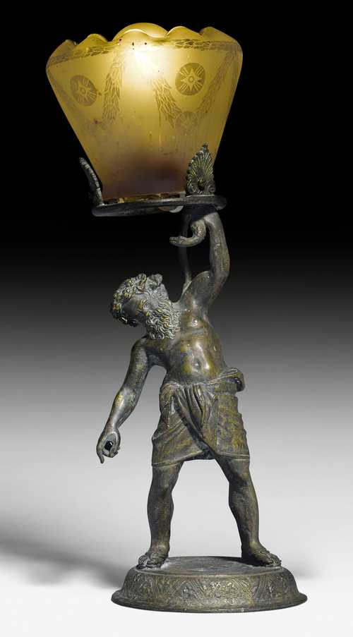 BRONZE FIGURE OF A SATYR, AS A TABLE LAMP,