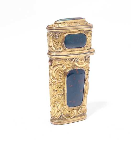 GILT TRAVEL NECESSAIRE WITH HELIOTROPE APPLICATIONS,