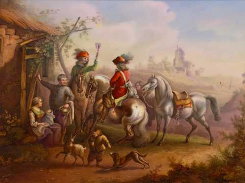 "PORCELAIN PLAQUE ""HORSEMEN AT THE TAVERN"","