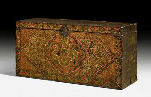 A WOODEN MONASTERY CHEST RICHLY PAINTED OVER GESSO.