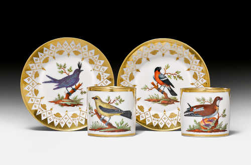 PAIR OF 'LITRON' CUPS AND SAUCERS WITH BIRD VIGNETTES,