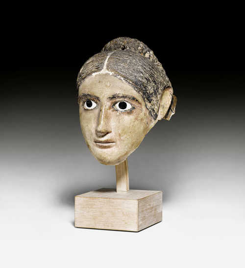 ROMAN MUMMY MASK OF A WOMAN,