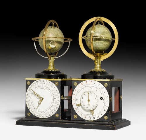 CLOCK WITH 2 GLOBES,