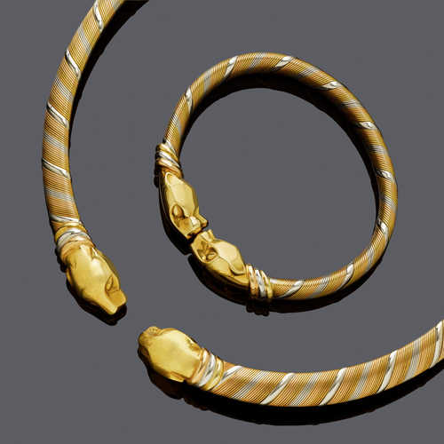 GOLD NECKLACE AND BANGLE, BY CARTIER, ca. 1990.