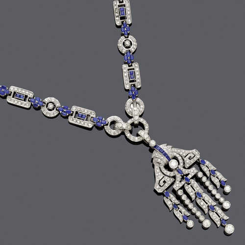SAPPHIRE AND DIAMOND NECKLACE/BRACELET PAIR WITH BROOCH, ca. 1935.