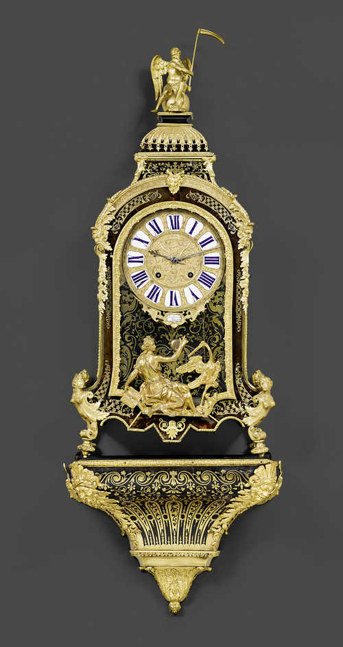 LARGE BOULLE CLOCK WITH PLINTH,