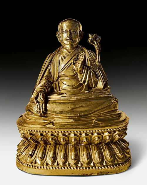 A FINE GILT COPPER ALLOY FIGURE OF SACHEN KUNGA NYINGPO.