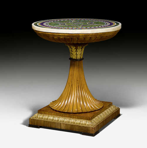 "ROUND PARLOR TABLE WITH ""PATE DE VERRE"" TOP,"
