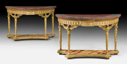 "PAIR OF DEMILUNE-CONSOLES ""AUX AIGLES"" WITH ""SCAGLIOLA"" PANELS,"