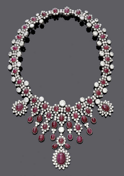 RUBY AND DIAMOND NECKLACE, ca. 1970.